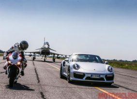 וידאו פסיכי: מבחן תאוצה פאניגאלה 1299 נגד פורשה 911 טורבו נגד מטוס קרב יורופייטר